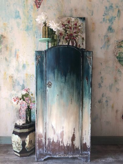 Hand Painted Floral Wardrobe Art Series   The Turquoise Iris