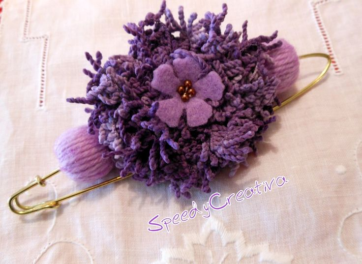 Violet wool broche