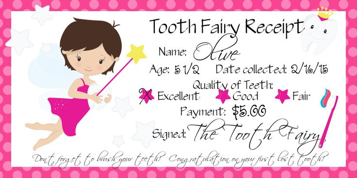 O�s first lost tooth � Tooth Fairy Receipt � Free printable