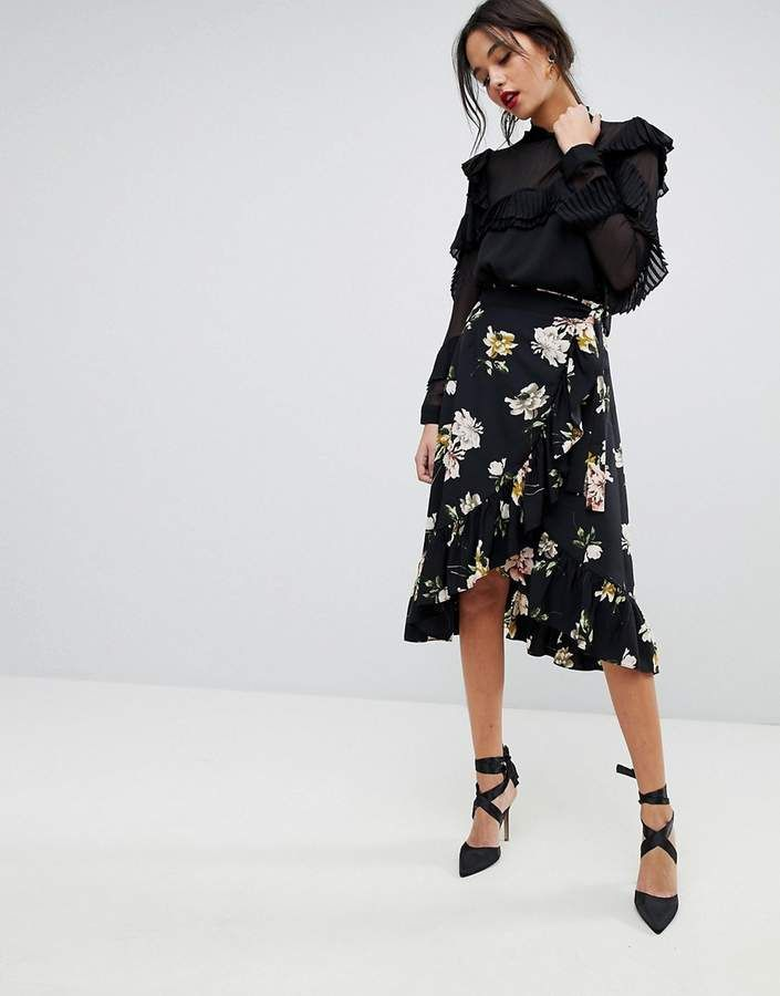 68b43bde637e7e Y.A.S Floral Wrap Skirt With Ruffle Hem | Products | Black floral ...