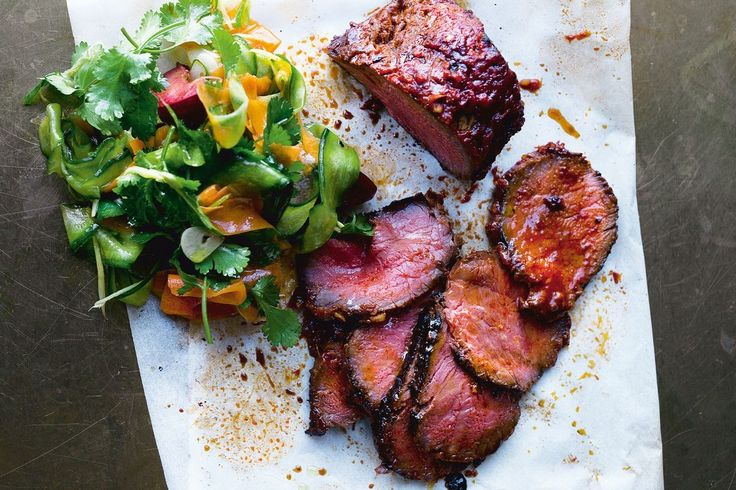 Roasted beef sirloin with cucumber kimchi and fresh plum - Recipes - delicious.com.au