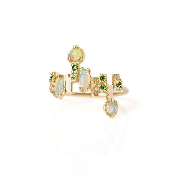 Jazz Ring. Australian Opal and tsavorite in texturised gold