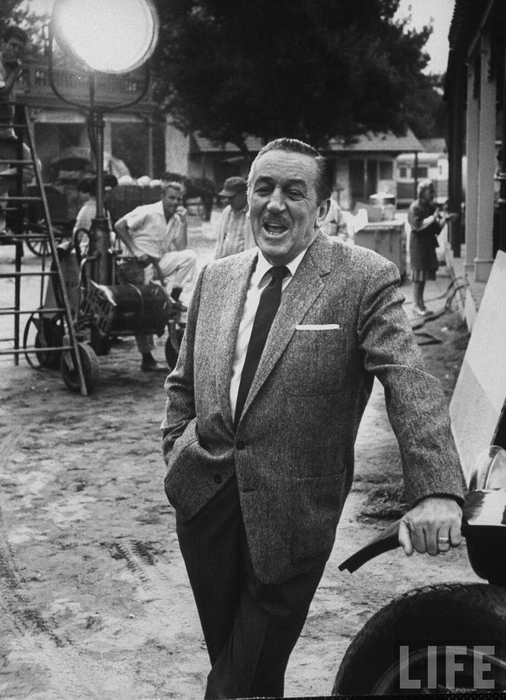 Walt Disney on the back lot of his studio.