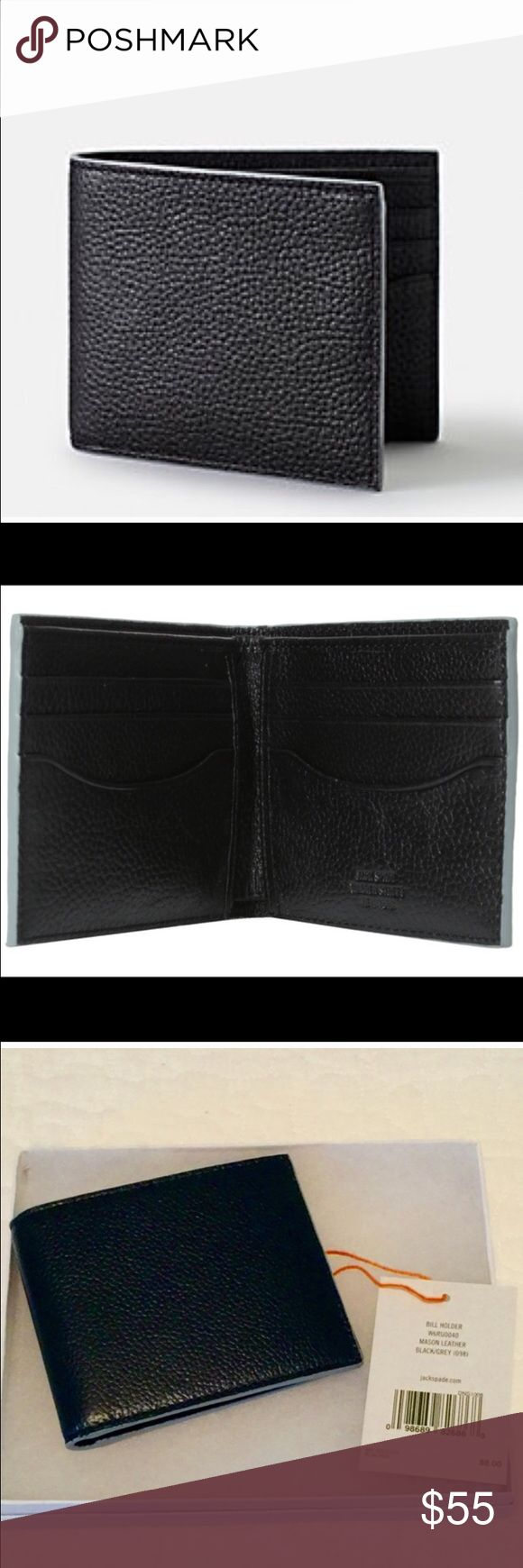 Jack Spade Mason Wallet New with tags and gift box. Black waxed leather with gray trim. Perfect gift for the holidays. Jack Spade Bags Wallets