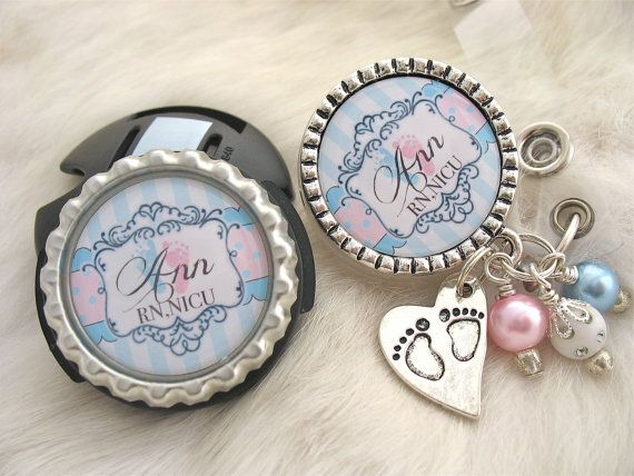 Personalized  NICU Badge Reel and STETHOSCOPE ID Tag set Rn Jewelry Bottle Cap Md,Labor and Delivery Medical Dr, Lpn, Pa,Lvn Cover Id Badge