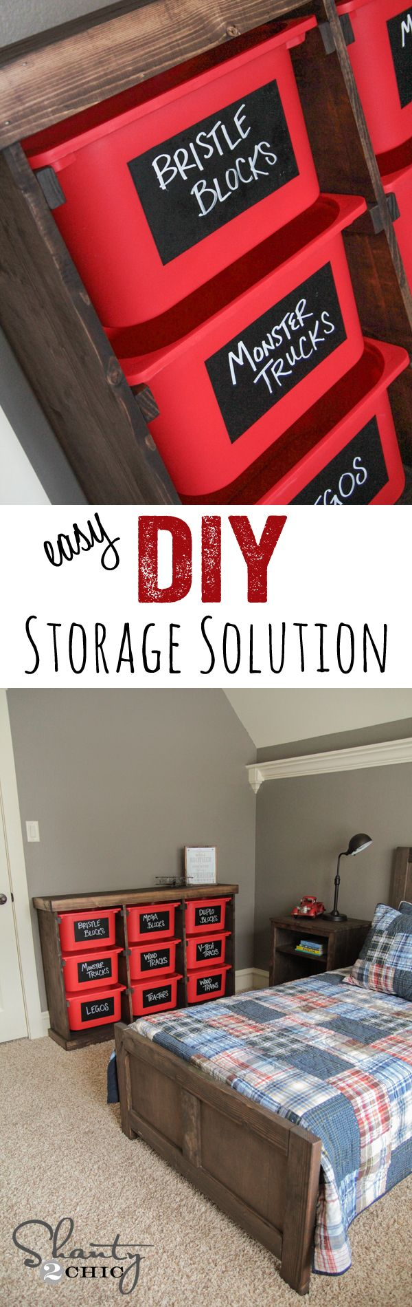 DIY Storage Idea… LOVE this for toys or anything! Cheap and easy too! www.shanty-2-chic.com