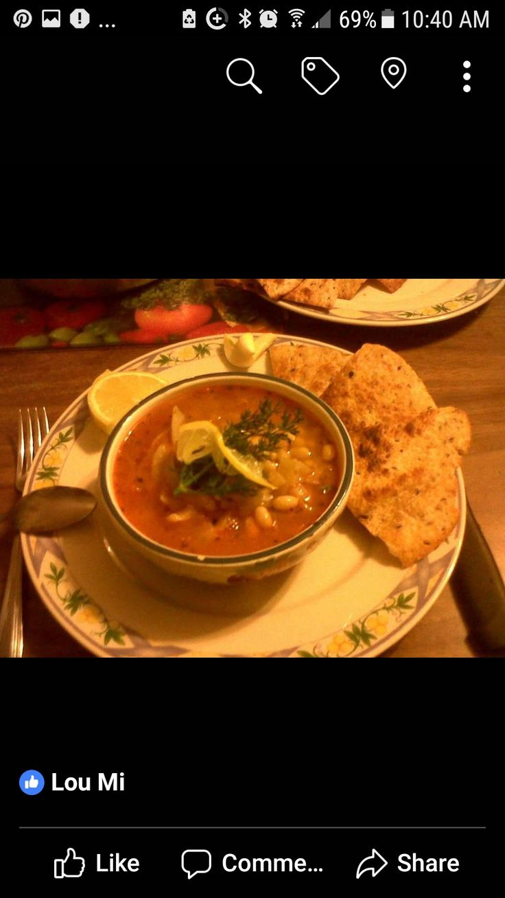 Homemade White Bean, Lemon & Thyme Soup Served with Grilled Tortilla