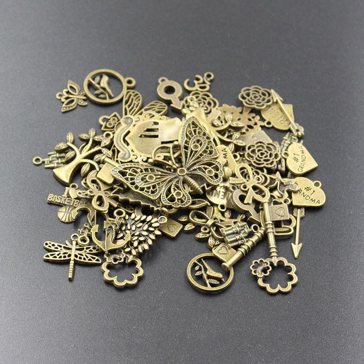 Aliexpress.com: Comprar Nuevas ventas calientes 50 g ( 20 50pattern ) encantos mezclados de bronce bañado en plata colgantes de metal para diy pulseras y collar fabricación de joyas de encanto de la piedra del fiable proveedores en Lucy 23D Jewelry Shop