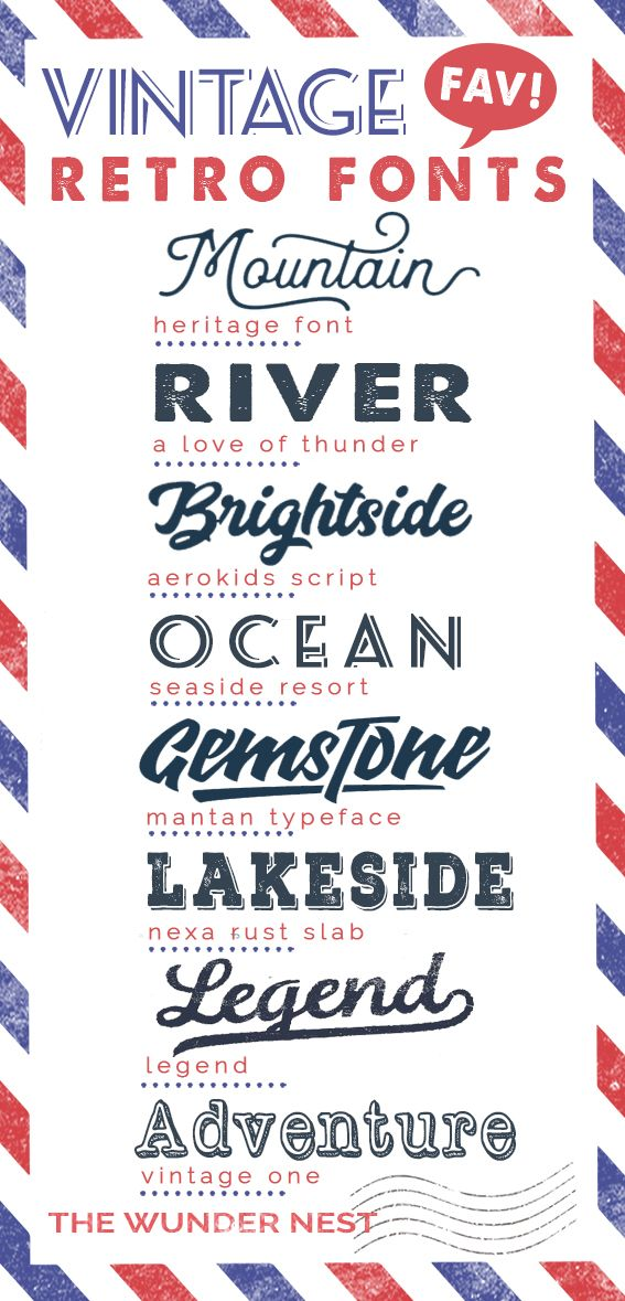 Vintage retro fonts have made a huge comeback in recent years. Sharing some of my vintage font collection with everyone. Two of the fonts that i normally use for my projects are the heritage font and the legend font.