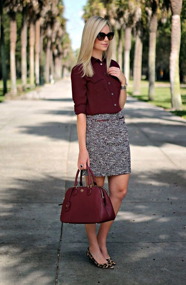 Burgundy button down shirt with gorgeous pencil skirt.   Office Style