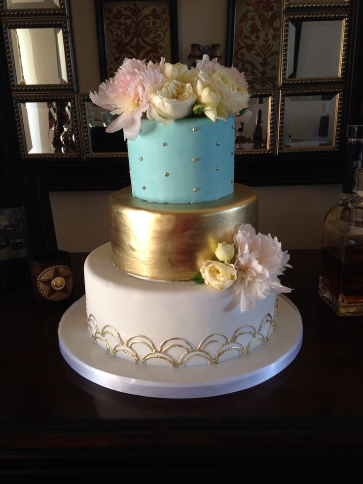 tiffany blue and gold wedding cake blue and gold fondant cake weddings 20992