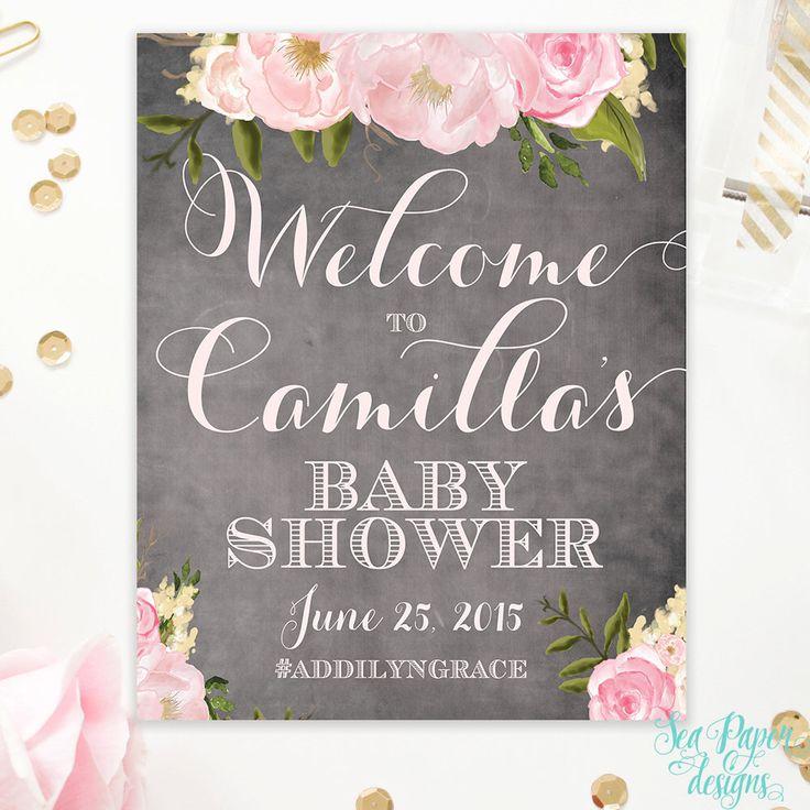 bridal shower invitations free printable templates%0A Emily Chalkboard  u     Pink Floral  Custom Welcome Baby Shower  Bridal Shower   Birthday  Baptism Sign  Printable