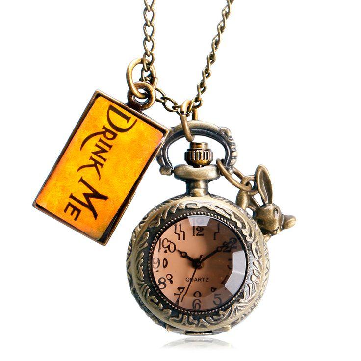 $4.37 (Buy here: https://alitems.com/g/1e8d114494ebda23ff8b16525dc3e8/?i=5&ulp=https%3A%2F%2Fwww.aliexpress.com%2Fitem%2FFashion-Cute-Pocket-Watch-Necklace-Alice-in-Wonderland-Rabbit-Gift-Pendant-Dark-Brown-Glass-Retro-Drink%2F32707743761.html ) Retro Classic Cute Alice In Wonderland Pocket Watch With Drink Me Tag Fob Watch Men Women Pendant Gift Relogio De Bolso for just $4.37