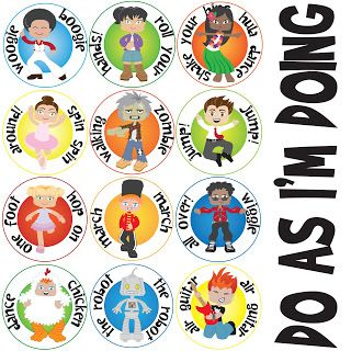 """""""Do As I'm Doing"""" action cards- hopefully better than the kids wanting to spin every time!"""