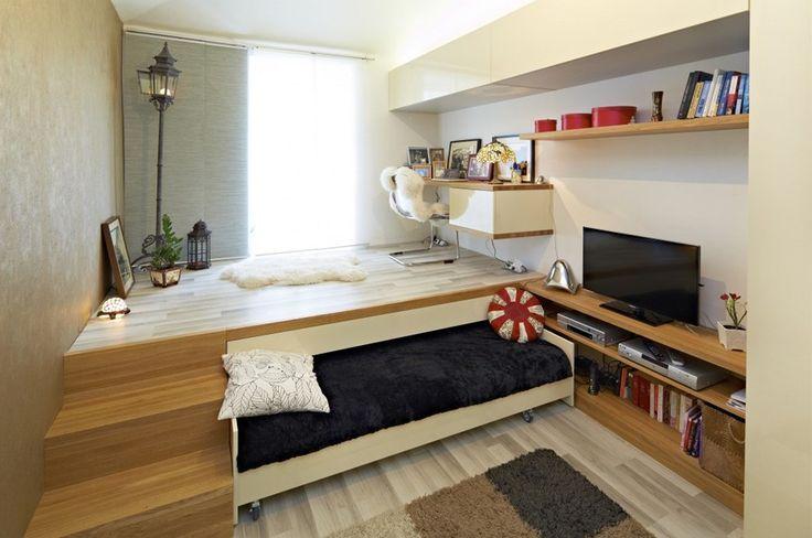 HappyModern.RU | Кровать-подиум в интерьере (35 фото): типы, особенности, плюсы и минусы | http://happymodern.ru