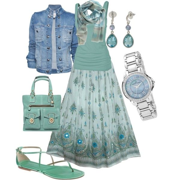 """""""Cool Skirt"""" by wishesndreams on Polyvore: Type 2 (secondary 3) in a Cool Summer palette with soft and blended blue/green."""