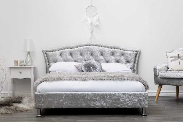 low priced e780b 3ba3c Georgio Silver Crushed Velvet Fabric Diamante Headboard ...