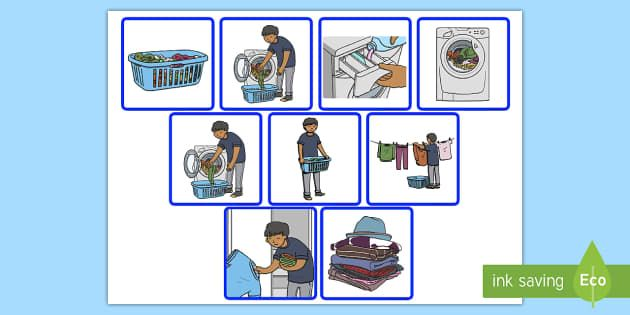7 Step Sequencing Cards Doing Laundry Cards Sequencing 7