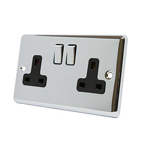 Wall Socket 2 Gang - Polished Chrome Classic - Black Insert - Metal Rocker Switch - 13a Double Plug Socket