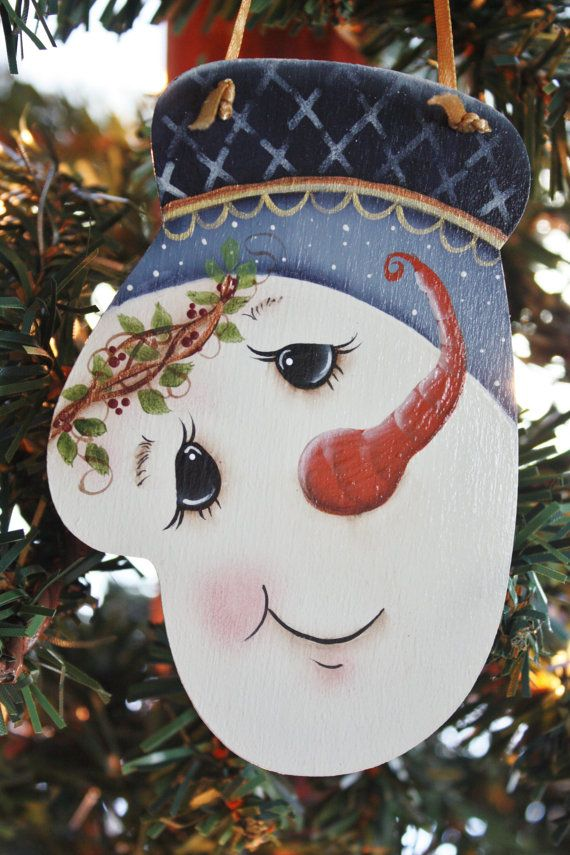 Hand Painted Blue Snowman Mitten Ornament by TracysCrtns on Etsy, $8.50