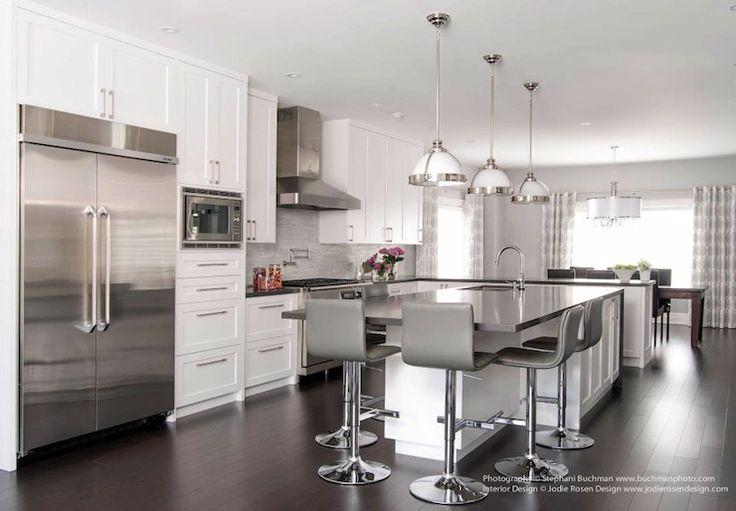 Jodie Rosen Design - kitchens - gray and white kitchen, ceiling height cabinets, ceiling height cabinetry, white cabinets, white kitchen cab...