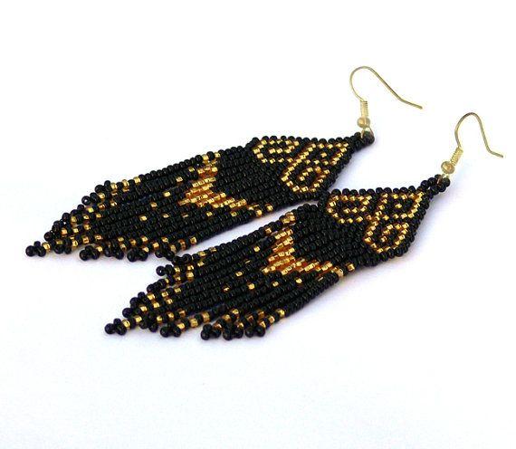 Gold and Black #Earrings Native American Earrings by Burvesrotas, $34.00