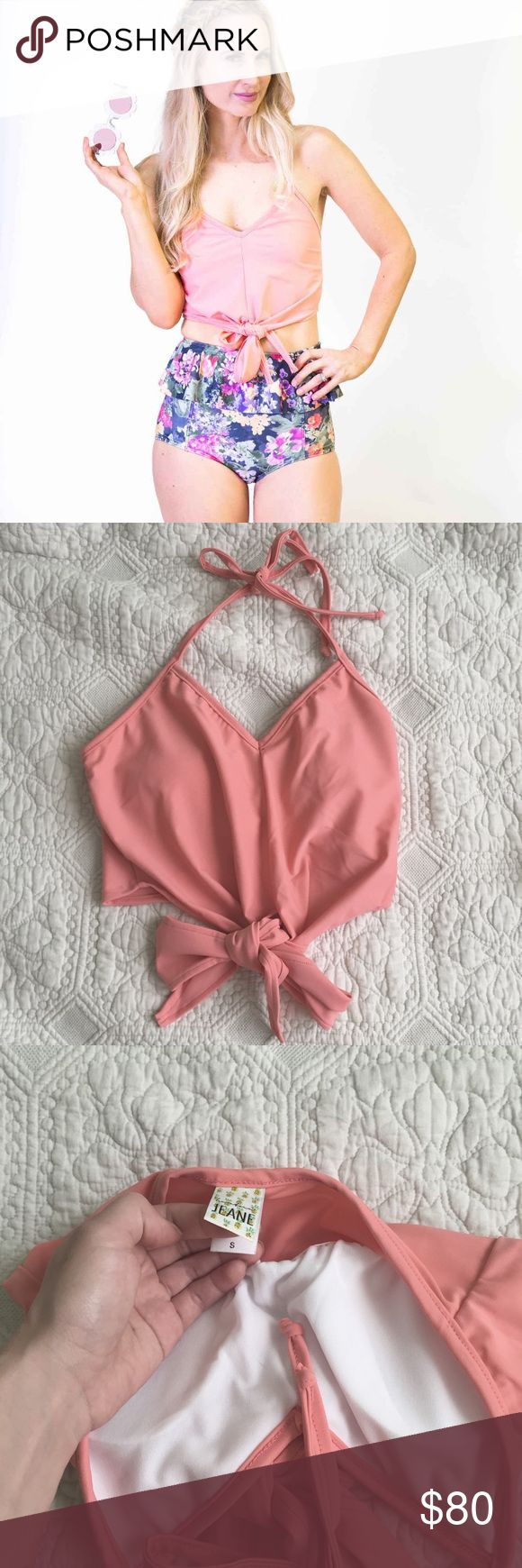 Kortni jeane tied up top bikini swim swimmers pink Tie up top style / size small / color: melon  Brand new in packaging / never worn Color is from a few seasons ago, no longer sold online    free people American eagle apparel anthropologie H&M topshop forever 21 Asos pacsun urban outfitters topshop bathingsuit bikini retro high rise midori acacia triangl Victoria's Secret victorias Victoria pink vs lululemon lulu Nike Victoria's Secret adidas Apple iPhone Louis pin up high cut hi nylon…