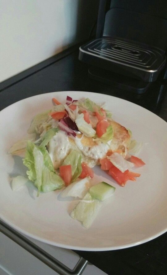 Kipsalon gemaakt in plaats van kabab er in hebben we kip er in gedaan
