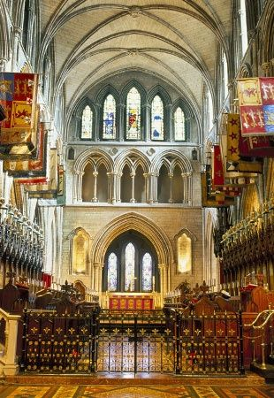 St Patricks Cathedral, Dublin - current building erected 1220-1270 AD - on site of Irish people's baptism by St. Patrick in 450 AD - earliest mention of a church on this site was in 890 AD - largest cathedral in Ireland