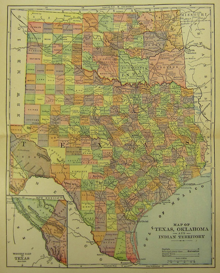 Antique Map of Texas Oklahoma and Indian