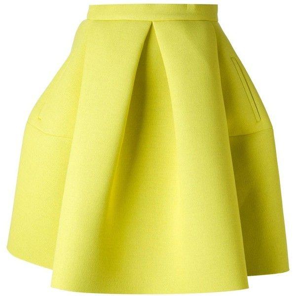 KENZO pleated a-line skirt ($360) ❤ liked on Polyvore featuring skirts, faldas, kenzo, yellow skirt, knee length pleated skirt, knee length a line skirt and yellow pleated skirt