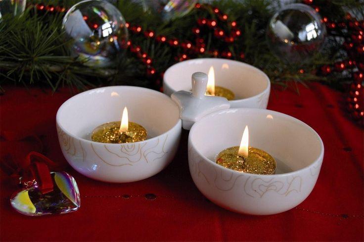 Porta-salatini in porcellana, #tavola natalizia, decoro Charleston usato come #porta-candele  ww.ancap.it