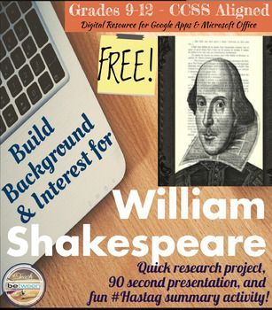 Shakespeare! -Build background information in a fun, unique, collaborative activity in which students practice research and presentation skills. -Unique Hashtag Summary activity to accompany the building background activity.