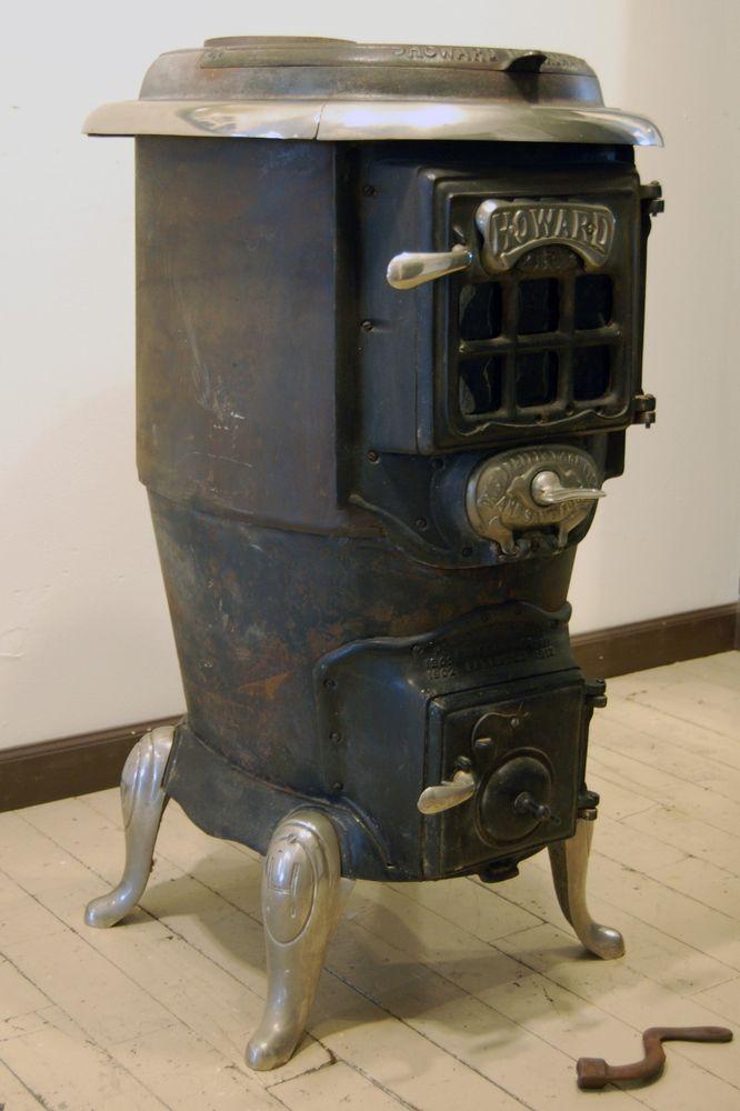 Vintage antique wood burning howard stove company 1900 - Antique wood burning stove ...