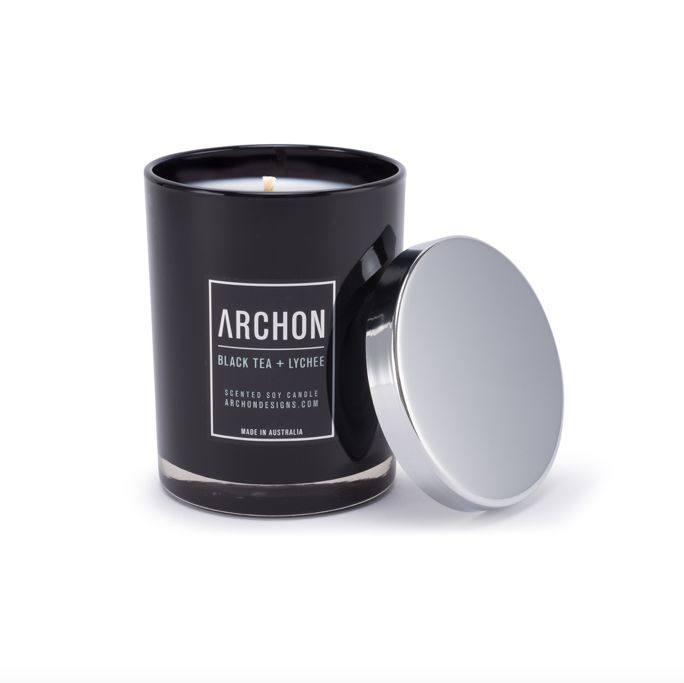 Black Tea and Lychee Soy Candle | A delightful blend of the finest black tea leaves is complemented with the base note of sweet exotic lychee fruit essential oils. This 100% soy candle is delectably delicious!