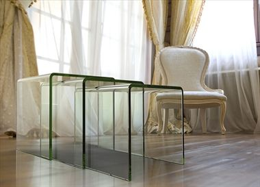 Contemporary, practical and stylish, the Olivea nest of tables from Akante has been crafted from tempered glass, and is available in a collection of colours including crystal and blue. A hot bending process is used to achieve the soft, curved angles, and the minimalist design brings a modern tone to any room.
