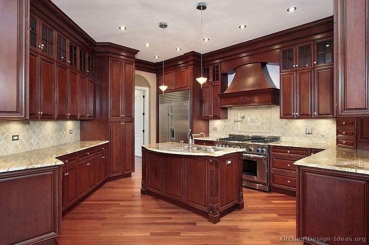 Dark Wood Kitchen traditional dark wood-cherry kitchen cabinets | style | pinterest