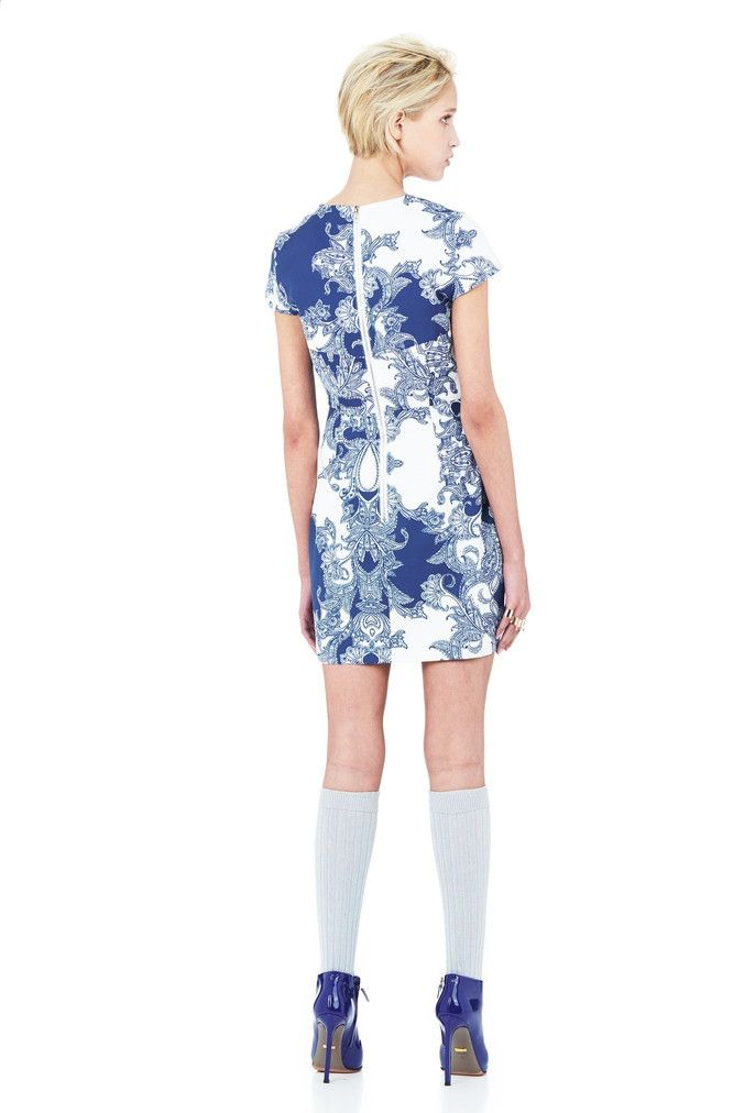 Minty Meets Munt - Blue White Print Day Dreaming Mini Dress