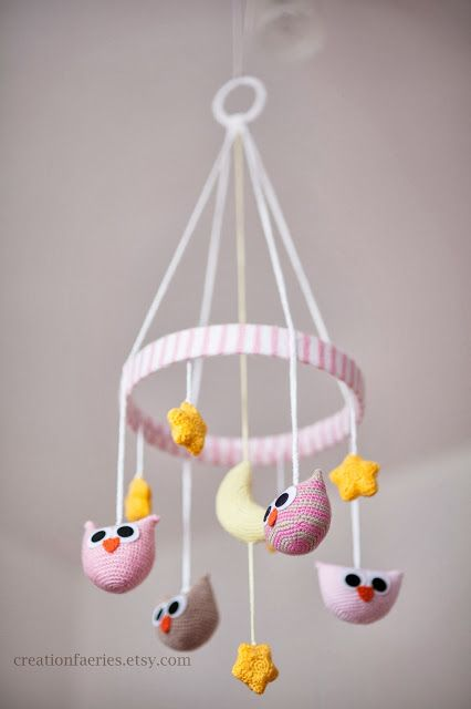 Creation Faeries: handmade blog: Crocheting project - baby mobile with owls and…