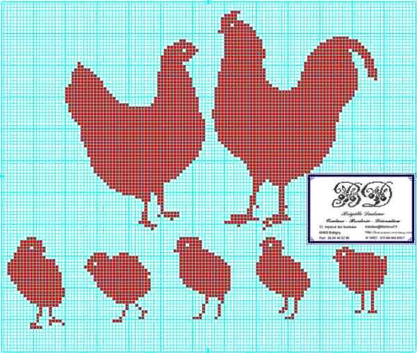 J'ai bien remarqué que vous aimiez les grilles animalières... Donc c'est une nouvelle fois une grille avec des poules et un coq, une grille pour annoncer le printemps (c'est un peu tôt ) ou une grille pour préparer Pâques, le 12 avril cette année. Trés...