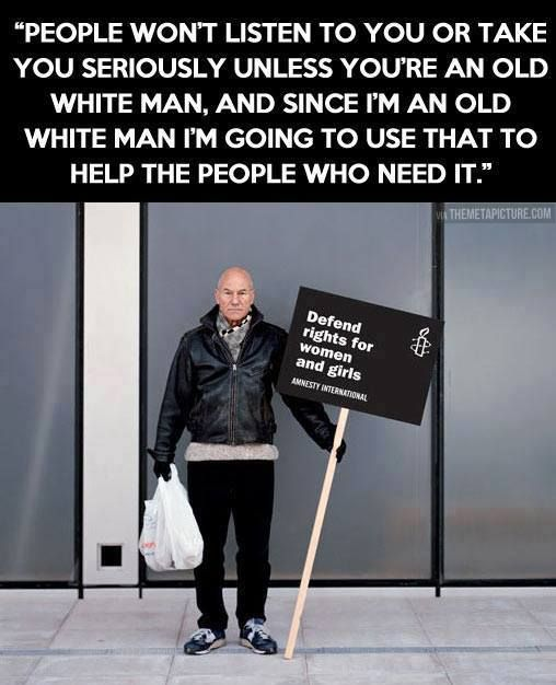 Patrick Stewart's feminism makes him the best Starfleet Captain/Mutant Professor the world could ever ask for.