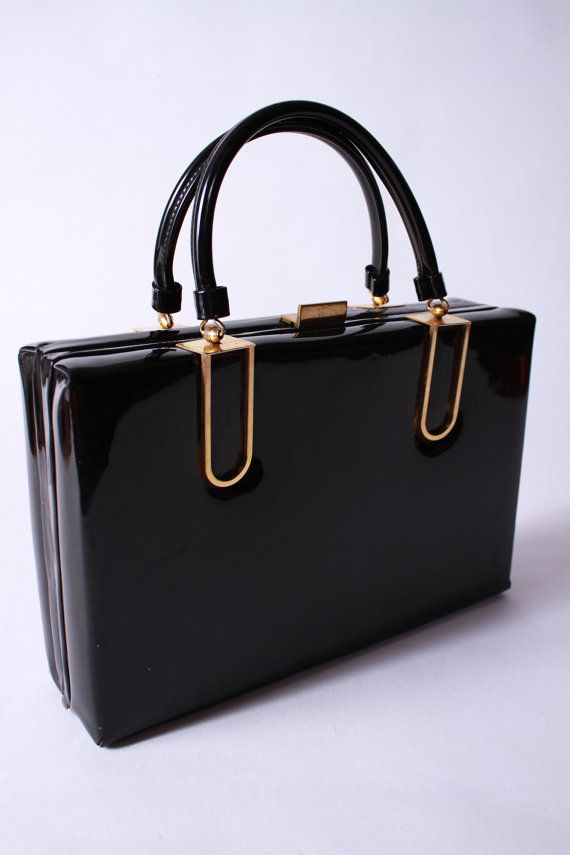 Vintage 1950s Black Patent Leather Handbag Attache by FabGabs, $68.00