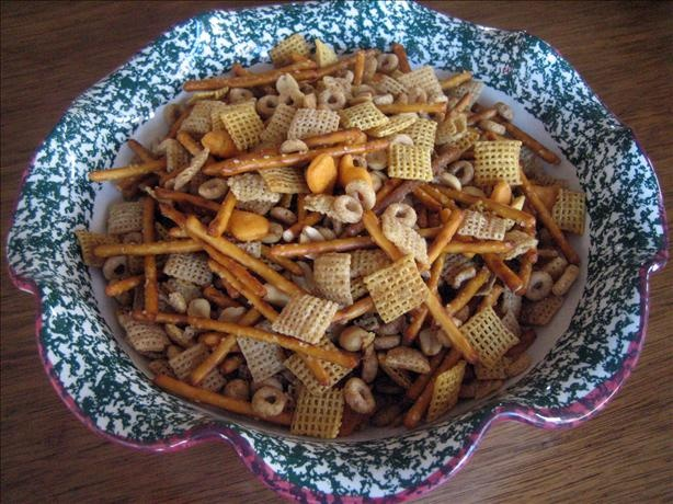 Amy's Texas Trash  1 box Wheat Chex 1 box Rice Chex 1 box Cheerios 1 bag pretzel sticks 2 cans of planters mixed nuts with sea salt 1 1/2 cup bacon grease, melted 1Tbl butter flavoring 1/4 cup Worcestershire 2 1/2Tbs Cholula 6 Tbs Roasted garlic, I use a lot... 1 1/2 Tbs seasoned salt DIRECTIONS Combine cereals, pretzels and nuts in a very large oven-proof bowl or pan. Mix butter, bacon grease and seasonings together. Pour liquid over cereal mixture and stir. Bake 1 hour at 250° , stirring…