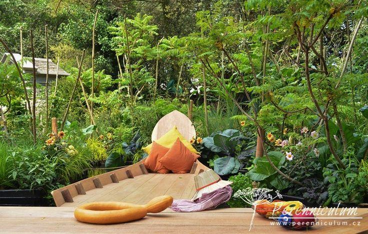 Kategorie Artisan Gardens, Viking Cruises Mekong Garden, zahradní architektka Sarah Eberle našla inspiraci v plovoucích zahradách regionu Kambodža, kde se tká hedvábí.