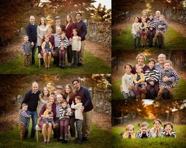 Outdoor Large Family Portrait Poses For Kids