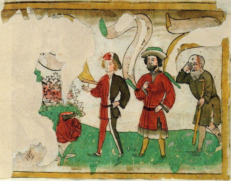 "Schreiber dubbed this ""die Liebe und die drei Lebensalter"" Munchen, Graphische Sammlung Inventarnr. 171586. German woodcut sheet c.1500 -- embracing couple torn away -- and men's speeches erased -- for what they were saying, see next! Earliest example of the motif known to me."
