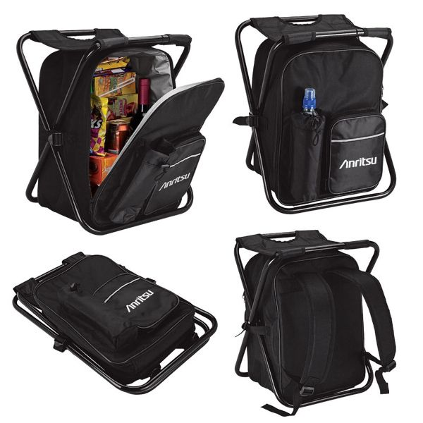 Picnic chair backpack cooler. This 24 can capacity cooler has an integrated folding chair. It is made of durable 600D material and features a zippered main compartment with PEVA lining, adjustable padded shoulder straps, zippered front pocket, and a water bottle pocket.