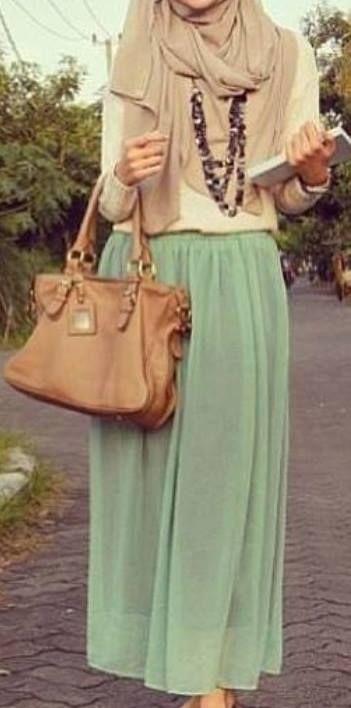 Love. hijabi fashion. pastel colors. maxi skirt.