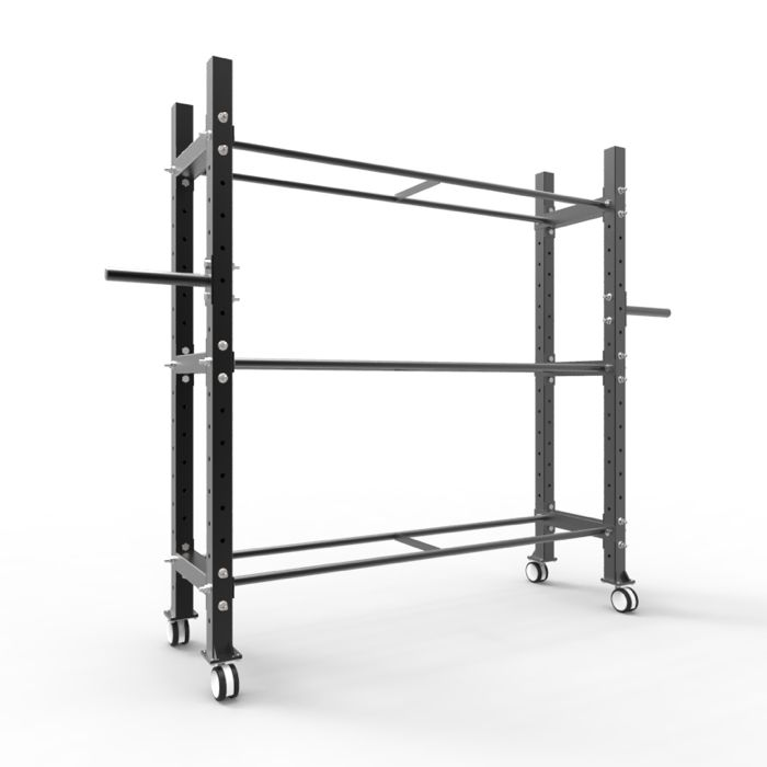 Multi Rack - Modular Storage. The Industrial Athletic Multirack is the single solution to rearrange the clutter, or get your gear off the floor. - Med balls, Wall Balls, Slam -Balls - Bands - Incremental plates - Bumper plates - Kettlebells (flat shelf add on required) - Dumbells (flat/angled shelf add on required) total of 3 shelves provided with each Multi-rack