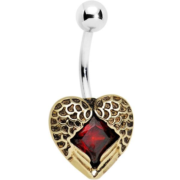 Red CZ Gem Winged Feather Valentine Heart Belly Ring